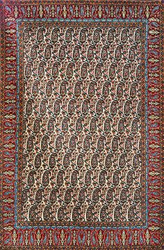 QUM, PERSIAN PAISLEY - CENTRAL IRAN          Circa 1940s  Approx. 6ft 8in x 4ft 5in (203 x 135 cms)