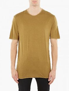 Maison Margiela Moss Longline Cotton T-Shirt The Maison Margiela Longline Cotton T-Shirt for AW16, seen here in moss. - - - Crafted from premium cotton and cut to offer a relaxed fit with an elongated hem, this t-shirt from Maison Margiela is a  http://www.MightGet.com/january-2017-13/maison-margiela-moss-longline-cotton-t-shirt.asp