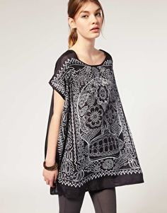 Enlarge Twist & Tango Silk Day Of The Dead Scull Print Tunic