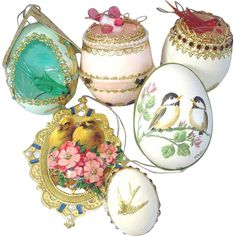 Five Mid Century Christmas ornaments made from real egg shells plus an attractive double sided die cut paper scrap ornament, all with a bird theme. - Ideas for blown egg ornaments