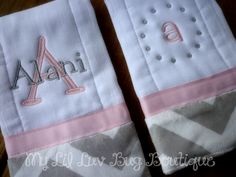 This is a set of 2 burpcloths with a trendy grey and white chevron print minky fabric. They are made from premium 6PLY prefold diapers (not the cheap