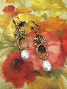 Pearl and Brass Wedding Earring by Lusicious by thediamondseabridal on Etsy