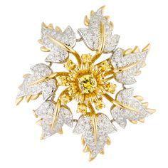 TIFFANY & CO. SCHLUMBERGER Diamond Yellow Sapphire Flower Brooch