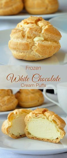 These white chocolate cream puffs are ideal to have on hand for last minute dessert when needed. The filling freezes to a silky white chocolate ice cream. A terrific make-ahead dessert for holidays li (Chocolate Cream Thanksgiving) 13 Desserts, Make Ahead Desserts, Frozen Desserts, Delicious Desserts, Dessert Recipes, Yummy Food, Plated Desserts, French Desserts, Baking Desserts