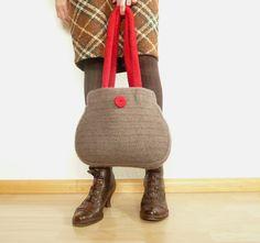 gefilzte Handtasche rot/braun von anukistyle auf Etsy