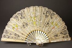 Victorian mother of pearl and embroidered ladies fan.