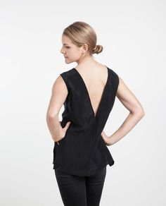 the sleeveless v back top in black cupro is part of our minimalist and sustainably conscious womenswear line