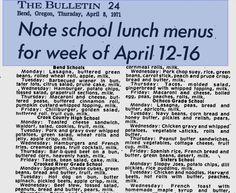 School lunch menu, 1971