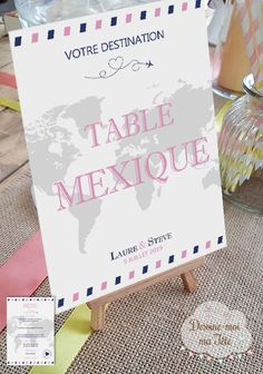 """Custom Travel """"easel"""" table-top - Home Page Wedding Tips, Wedding Table, Wedding Favors, Wedding Planning, Dream Wedding, Travel Party, Travel Themes, Diy Wedding Decorations, Party Themes"""