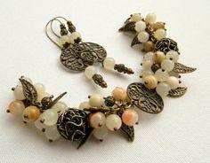 Charm bracelet  Jade bracelet  Handmade beaded by insoujewelry, $55.00