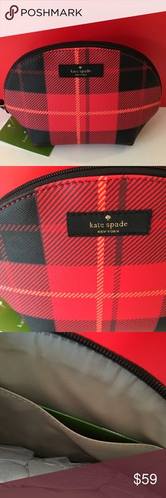 KATE SPADE NEW COSMETIC BAG 100% AUTHENTIC KAYE SPADE NEW COSMETIC BAG. STUNNING AND STYLISH IN A FREAH NEW PRINT. SUCH A ROOMY LOVLEY BAG FOR YOUR ESSENTIALS. THIS BAG MEASURES 7 INCHES WIDE BY 5.5 INCHES TALL. kate spade Bags Cosmetic Bags & Cases