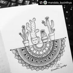 mandala sharing page (i.mandala) photos and videos Doodle Art Drawing, Mandalas Drawing, Zentangle Drawings, Pencil Art Drawings, Zentangle Patterns, Cute Drawings, Art Sketches, Drawing Ideas, Easy Mandala Drawing