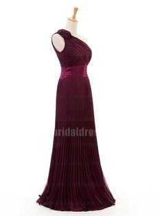 elegant one-shoulder brown long bridal dress | Cheap prom dresses Sale