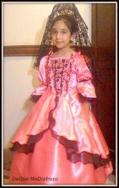 fcfb1e15ff Disfraz Infantil Vestido Patrio Dama Antigua Colonial Premiu -   699 ...