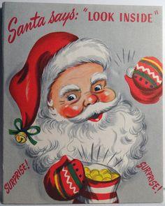 50s Santa Coin Dime Bank Money Holder Vintage Christmas Card 857 | eBay