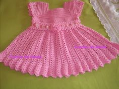 You can knit this beautiful dress for your baby. Crochet Dress Girl, Crochet Baby Dress Pattern, Baby Dress Patterns, Baby Girl Crochet, Crochet Baby Clothes, Toddler Girl Dresses, Little Girl Dresses, Special Dresses, Beautiful Crochet