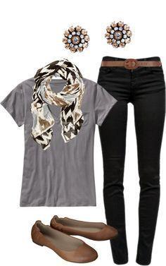 ttop gris+pantalon noir+ceinture marron+ballerines marrons+foulard blanc, marron,gris et noir+accessoires