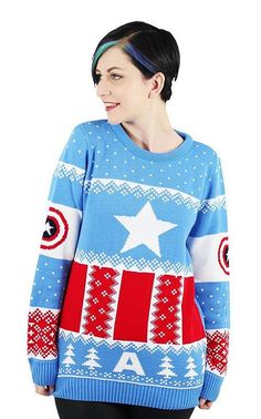 Captain America Christmas Jumper / Ugly Sweater - Visit to grab an amazing super hero shirt now on sale! Deadpool Iron Man, Iron Man Spiderman, Fandom Fashion, Geek Fashion, Christmas Jumpers, Christmas Sweaters, Disney Inspired Fashion, Disney Fashion, Clothes