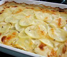 Ingredientes 1 kg de batatas cozidas em rodelas 1 copo de leite 2 ovos 1 pacote de queijo ralado 1 colher de manteiga 1 pitada de sal. 1 knnor de galinha Modo de Preparo bater