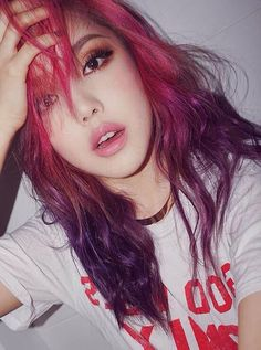 fanpage for pony. all pics are taken from pony's official platforms unless stated otherwise. Red Hair Color, Purple Hair, Pink Purple, Color Red, Kpop Hair Color, Hair Colors, Pony Makeup, Hair Makeup, Dye My Hair