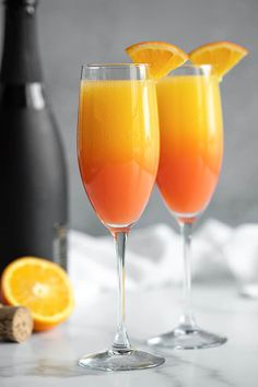 The classic mimosa gets kicked up a notch in this easy, beautiful and delicious Tequila Sunrise Mimosa. Just four ingredients are required! Easy Drink Recipes, Alcohol Drink Recipes, Best Cake Recipes, Yummy Drinks, Cooking Recipes, Favorite Recipes, Alcoholic Drinks, Cocktail Drinks, Cocktails