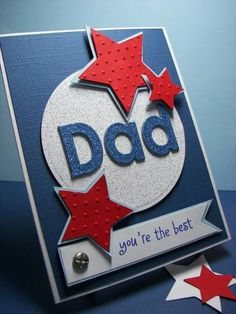 red, white &blue by - Cards and Paper Crafts at Splitcoaststampers Fathers Day Cards Handmade, Happy Birthday Cards Handmade, Fathers Day Crafts, Greeting Cards Handmade, Diy Father's Day Crafts, Father's Day Diy, Dad Birthday Card, Birthday Cards For Men, Cricut Cards