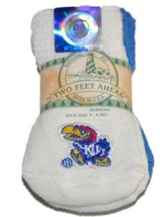 Kansas Jayhawks Two Feet Ahead Infant Baby Newborn 3 Pair Blue White Socks Pack