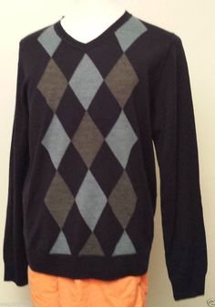 Garret Scott men size L v-neck wool blend sweater with checkers patter NWT #GarretScott #VNeck