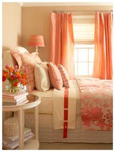 Home Inspiration - Peach Theme: Pretty Coral Peach Bedroom