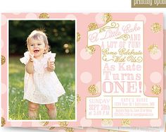 First Birthday Girl Invitation Photo Card - Blush Pink Gold Glitter Confetti Mint Aqua - BIG ONE 1st Bday - Custom Printable Party Invite
