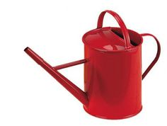 Red metal watering can with rose. made in: Europe made of: sheet metal size: height 13 cm, 1 l