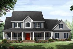 House Plan 21-323 Love the grey siding with red door. Would have to completely redesign the floor plan though.