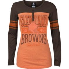 5th & Ocean Women's Cleveland Browns White Slub Henley T-Shirt ...