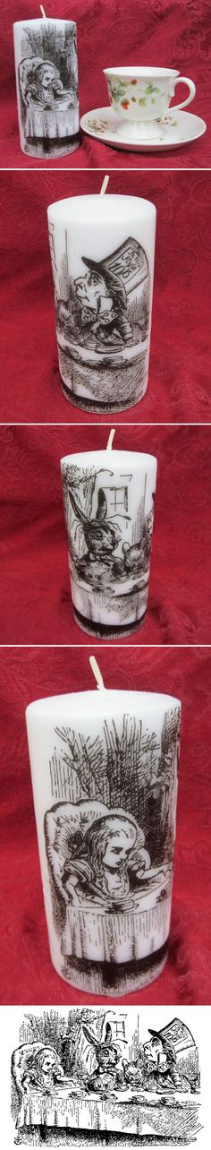 """Alice in Wonderland """"Mad Tea Part"""" Candle :: Her's a tutorial on how to DIY (you can print the image on tissue paper  attached to a piece of cardstock instead of vellum, too.) www.craftyscrappyhappy.net/2011/04/graphic-printed-candles-diy.html"""