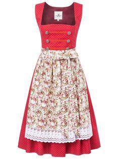 Dirndl in Rot Vintage Flowers   High Fashion Dirndl Germany