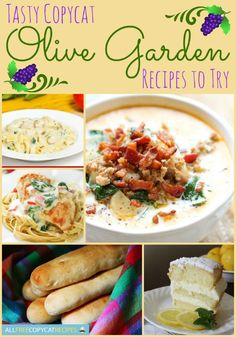 Copycat Olive Garden Recipes - Easy dinner recipes that will bring Olive Garden home!
