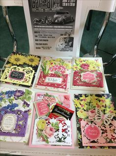 Some of my new Anna Griffin, Cards, using the new Pocket Dies. Love the Get Well that I added the Tea Bag to. Just love making them.