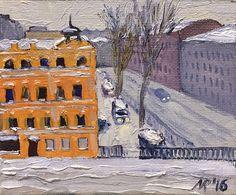 Ruben Monakhov. Snow. Canvas on board, oil, 10х12 cm.,  2016.  http://rubenm.spb.ru  #painting #живопись