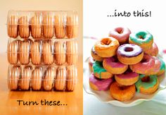 Party DIY: Make Custom Colored Donuts. Green and yellow for Izy's party. EDIT - These turned out great and were super easy. Will be making again.
