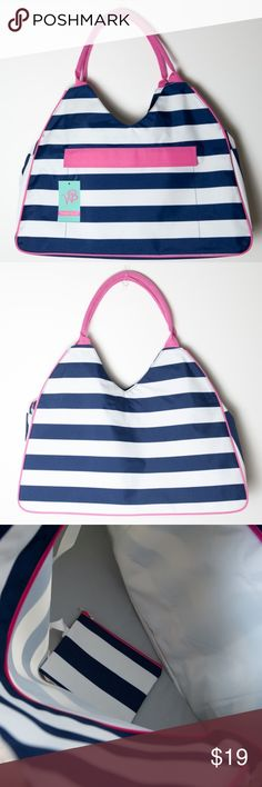 "NWT Prep Stripe Beach Bag Blue Pink White Tote New with tags Prep Stripe beach bag. White and blue stripes with pink trim. This beach bag great for carrying all your gear to the beach, pool, or anywhere the road may take you. The bag includes an inside pouch to keep wet clothes in and an outside pocket to keep sunscreen and sunglasses easy to reach. Approximate measurements 22"" L x 8"" W x 12"" H. Polyester. Approximate measurements of inside Zipper Pouch (7.5"" x 5.5""). Zipper closure and…"
