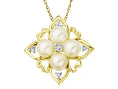 LOVE THIS A regal display on a filigree tile brings a new look to a classic pearl pendant. Four gleaming 5 mm freshwater pearls are highlighted with sparkling diamond accents in a setting of 14K gold.