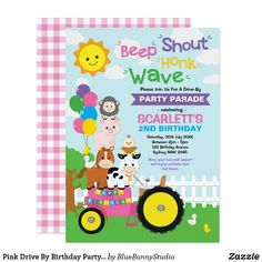 Pink Drive By Birthday Party Parade Farm Girl Invitation 1st Birthday Party Invitations, Wild One Birthday Party, Farm Birthday, Animal Birthday, 1st Birthday Girls, 1st Birthday Parties, Invites, Zazzle Invitations, Pink Drive