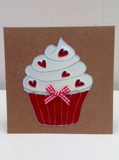 handmade cupcake with hearts card. This card is by LoveheArtcards, $4.50