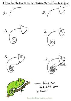 Cute Easy Drawings, Art Drawings For Kids, Doodle Drawings, Art For Kids, Easy Drawing For Kids, Easy Animal Drawings, Drawing Lessons, Drawing Techniques, Art Lessons