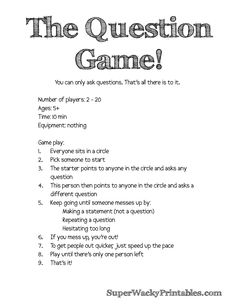 Wacky Week *The Question Game* – simple and hilarious (free printable!) | Super Wacky Printables