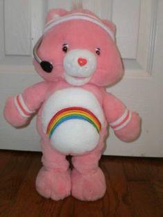"CARE BEAR plush STUFFED toy ""FIT 'N' FUN"" CHEER BEAR rainbow EXERCISE aerobics"