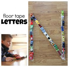 """Floor Tape Letters...spell out your child's name or initials, have them use vehicles to trace the letter over and over while saying the letter name (or have the car make the letter sound repeatedly while driving on the letter """"road"""")."""