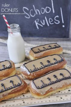 Ruler Donuts are such a fun way to send the kids off on the first day of school and so easy to make with store bough maple bars