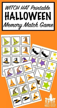 Printable Halloween Game - Witch Hat Memory Match Want an easy, and festive game to Halloween Tags, Halloween Activities For Kids, Theme Halloween, Toddler Halloween, Halloween Ideas, Halloween Week, Halloween Printable, Printable Crafts, Scary Halloween