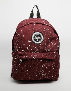 Hype Speckled Backpack in Burgundy and White